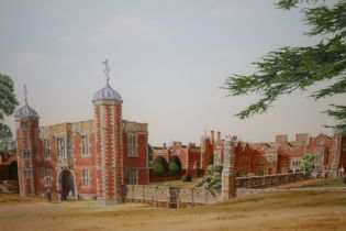 A FRAMED AND GLAZED WATERCOLOUR OF ENTITLED SEPTEMBER MORNING AT CHARLCOTE PARK BY T W MORAN - 47 CM