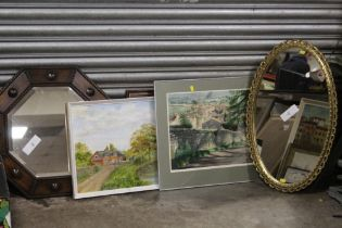 A COLLECTION OF PICTURES, PRINTS AND MIRRORS, TO INCLUDE AN OAK FRAMED OCTAGONAL WALL MIRROR, OIL ON