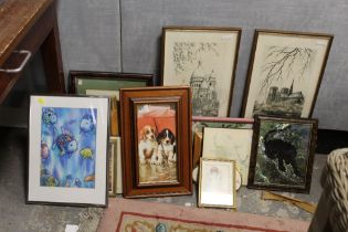 A LARGE QUANTITY OF ASSORTED PRINTS TO INCLUDE 'TROTTERS' BY WARWICK HIGGS, NIGEL HEMMING PRINT,