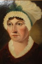 AN ANTIQUE OIL ON BOARD PORTRAIT STUDY OF A LADY IN A BONNET IN A MODERN GILT FRAME - 28 CM BY 34