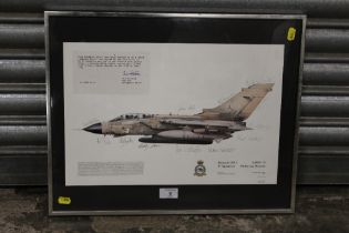 A FRAMED AND GLAZED SIGNED LIMITED EDITION RAF INTEREST TORNADO GR.1 PRINT, SIGNED BY THE GULF 27