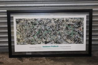 A LARGE FRAMED AND GLAZED JACKSON POLLOCK MUSEUM OF MODERN ART NEW YORK EXHIBITION POSTER circa