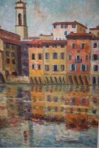 A FRAMED OIL ON BOARD ENTITLED REFLECTIONS IN THE ARNO - BY LILY ARROWSMITH - 58.5 CM BY 43.5CM,