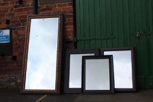 FOUR ASSORTED MIRRORS TO INCLUDE A FLOOR STANDING EXAMPLE A/F, LARGEST OVERALL SIZE 165 X 78 CM