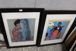 A COLLECTION OF PRINTS TO INCLUDE AN 'ART ACTION AUCTION' PRINT, MODERNIST FIGURATIVE PRINT, AN