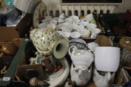 TWO TRAYS OF CERAMICS TO INCLUDE MUGS
