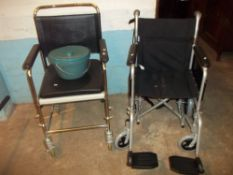 A DRIVE DEVILBISS FOLDING WHEELCHAIR AND A COMMODE