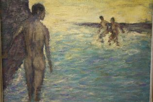 SCHOOL OF HENRY SCOTT TUKE (1858-1929). Rocky coastal scene with nude bathers, bears signature and