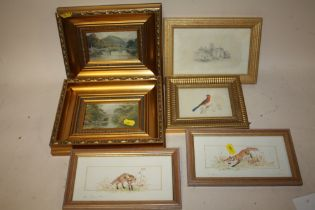 A PAIR OF SMALL FRAMED AND GLAZED WATERCOLOURS DEPICTING FOXES BY EILEEN ENDACOTT, TOGETHER WITH A
