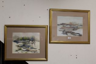 A PAIR OF FRAMED AND GLAZED SOUTH AFRICAN LANDSCAPE WATERCOLOURS SIGN JUAN MOLLMANN 34 CM BY 26 CM
