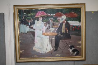 A LARGE MODERN GILT FRAMED OIL ON CANVAS DEPICTING SEATED FIGURES IN AN OUTDOOR SETTING INDISTINCTLY