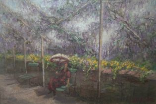 (XIX-XX). Ornamental garden scene with seated figure, indistinctly signed lower right, oil on