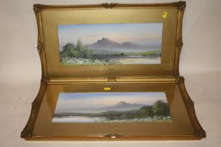 A PAIR OF GILT FRAMED AND GLAZED WATERCOLOURS OF MOUNTAINOUS SCENES ENTITLED 'MORNING MIST' AND '