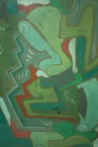 SCHOOL OF EVIE SYDNEY HONE (1894-1955). Abstract composition 'Warm & Cold', see inscription verso,