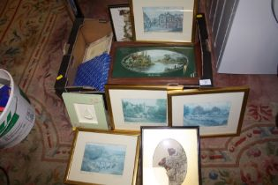 A TRAY OF ASSORTED PRINTS TO INCLUDE SIGNED EXAMPLES, FRAMES ETC.