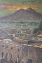 SCHOOL OF RICHARD WILSON (1713-1782). Continental town scene with figures before Mount Vesuvius '