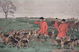 CHAS E. BALDOCK (XIX-XX). A set of three framed and glazed landscape hunting prints with huntsmen