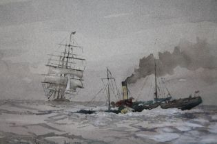 AFTER FRANK BRANGWYN (1867-1956). Sailing vessel and paddle steamer in a choppy sea, bears signature