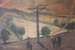 MAJOR. An impressionist stormy evening wooded landscape with figures on path, signed lower right,