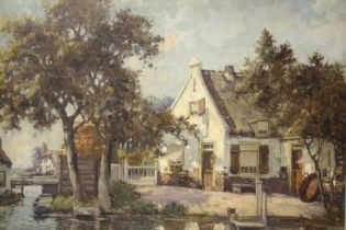 J. STAPPERS (XX). Continental school, wooded river scene with cottages, signed lower right, oil on