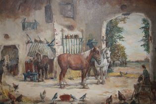 A FRAMED VINTAGE OIL ON CANVAS DEPICTING A STABLE INTERIOR SCENE WITH HORSES, BIRDS AND FIGURES