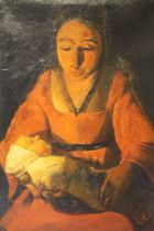 (XX). Continental school portrait study of a seated mother and child, indistinctly signed upper