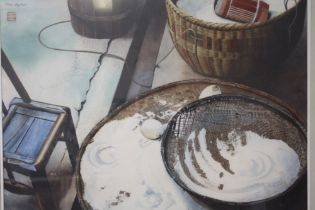 MARIE SHEPHERD (XX). Still life study of various kitchen items, signed and bearing Oriental