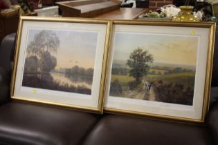 A PAIR OF GILT FRAMED AND GLAZED SIGNED GERALD COULSON PRINTS ENTITLED 'COUNTRY LIFE' AND 'SUMMER