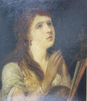 ENGLISH SCHOOL (XIX). Portrait of a lady, oil on board, gilt framed 48 x 40 cm
