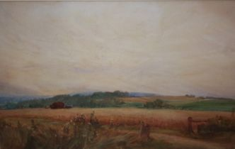 A WIGGINGTON (XX). An English cornfield landscape, signed lower left, watercolour, gilt framed and