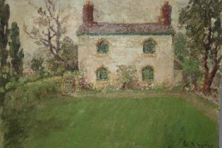 AFTER FRED YATES (1922-2008). Cottage garden scene, bears signature lower right, oil on board,