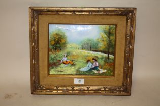 A GILT FRAMED ENAMEL ON COPPER PICTURE ENTITLED 'AUTUMN PICNIC' BY J LUKES WITH CERTIFICATE OF
