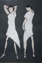 (XX). Modernist study of two women in white dresses, indistinctly signed lower right, mixed media on