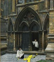 MODIFIED ART IN THE STYLE OF BANKSY, MADE FROM AN ORIGINAL FRAMED PRINT DEPICTING CHOIR BOYS ON