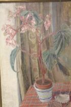 A VINTAGE GILT FRAMED STILL LIFE OIL ON CANVAS STUDY OF FLOWERS IN A VASE SIGNED M. ANDERSON VERSO,