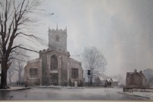 T. CARR (XX). British school, Wintery village scene with figures before a church, signed lower left,