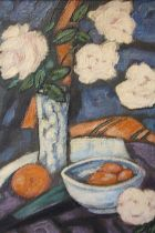 (XX). Impressionist still life study of a vase of flowers and other items on a table, signed lower