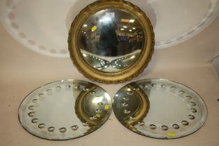 A GILT FRAMED CIRCULAR CONVEX WALL MIRROR OVERALL DIAMETER INCLUDING FRAME - 38CM, TOGETHER WITH A