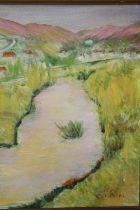 SARDI (XX). Continental school, impressionist mountainous river landscape with village, signed lower