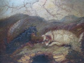(XIX). British school, circle of ARMFIELD, stormy moorland landscape with terriers at a rabbit hole,