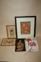 A FRAMED AND GLAZED JAPANESE WOODBLOCK PRINT OF A FLORAL FABRIC PATTERN, TOGETHER WITH A PEN DRAWING