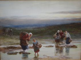 ROBERT CARRICK (c.1829-1904). Mussel gathering, signed lower left and dated 1877, watercolour,