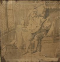 A PAIR OF ANTIQUE FRAMED FIGURATIVE TAPESTRIES, approx 48.5 x 48.5 cm
