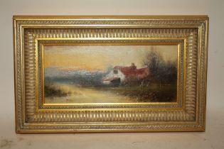 A GILT FRAMED OIL ON BOARD DEPICTING A COUNTRY RIVER LANDSCAPE WITH COTTAGE HINES LOWER LEFT (ALSO