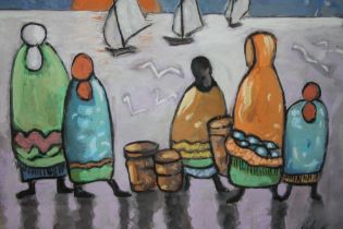 SCHOOL OF MARKEY ROBINSON (1917-1999). Irish school, impressionist study of figures looking out to