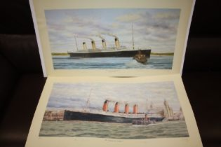 A PAIR OF UNFRAMED SIGNED LIMITED EDITION S W FISHER PRINTS OF SHIPS ENTITLED 'THE TITANIC AT