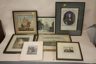 A COLLECTION OF ENGRAVINGS TO INCLUDE A PORTRAIT ENGRAVING OF LIEUTENANT GENERAL TALMASH, WHITE
