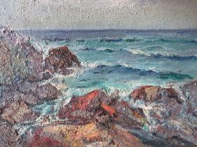CIRCLE OF JOHN ANTHONY PARK (180-1962). Rocky coastal scene at St Ives, bears signature lower