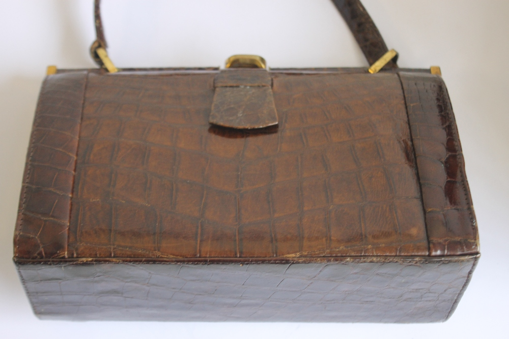 THREE VINTAGE HIDE HANDBAGS AND A CLUTCH BAG, one Mappin & Webb, one Marquessa and two unknown - Image 5 of 5
