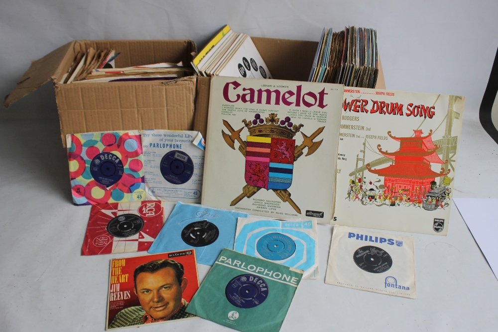 TWO BOXES OF LP RECORDS, SINGLES AND 78S to include musicals and easy listening LPs, 1960s
